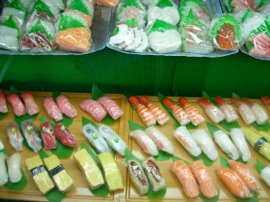 Plastic sushi and sashimi.