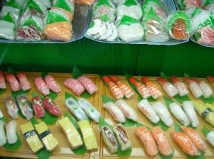 Plastic sushi and sashimi.