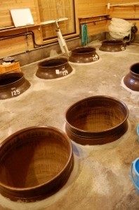 Large ceramic pots for aging shochu