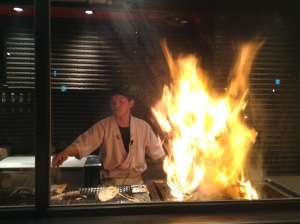 Searing katsuo over straw