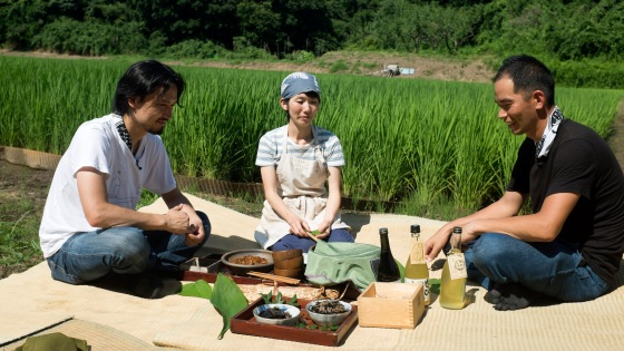 Shinobu Namae picnics amongst rice fields at Terada Honke_2